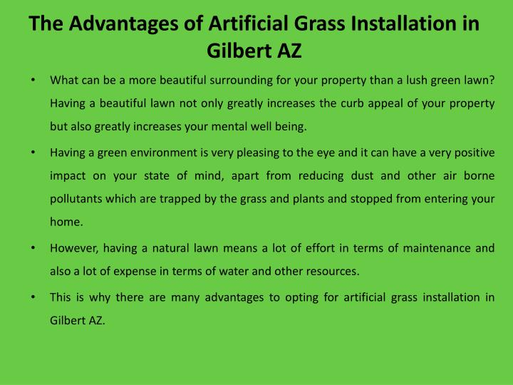 The a dvantages of artificial g rass i nstallation in gilbert az