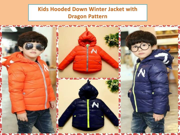 Kids Hooded Down Winter Jacket with Dragon Pattern