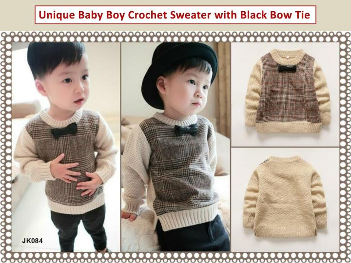Unique Baby Boy Crochet Sweater with Black Bow Tie