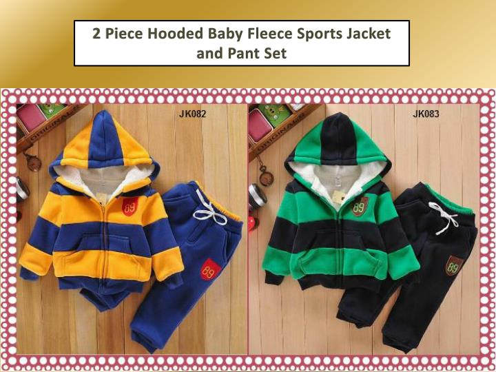 2 Piece Hooded Baby Fleece Sports Jacket and Pant Set