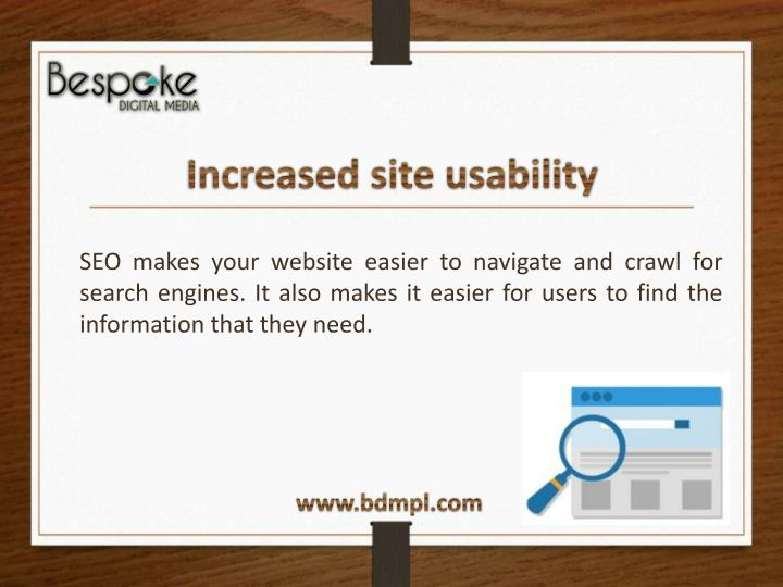 Increased site usability