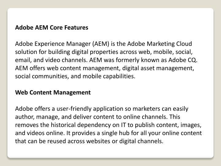 Adobe AEM Core Features