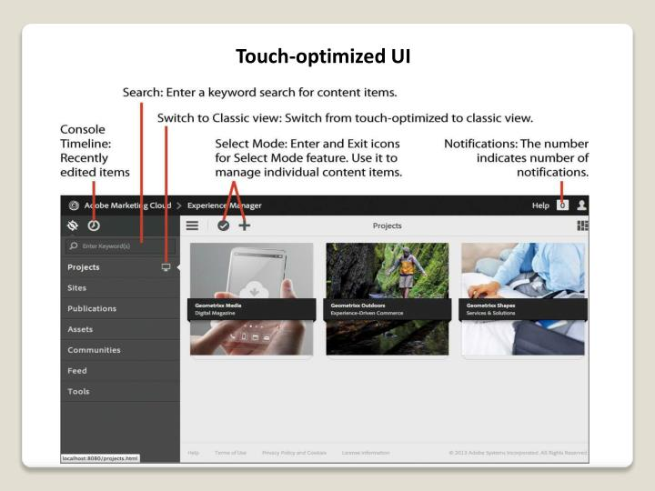 Touch-optimized UI