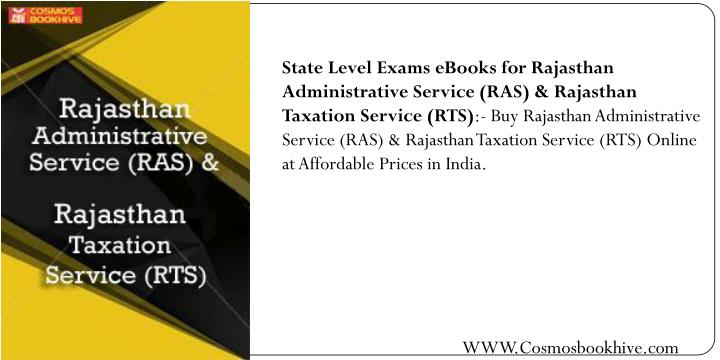 State Level Exams eBooks for Rajasthan Administrative Service (RAS) & Rajasthan Taxation Service (RTS)