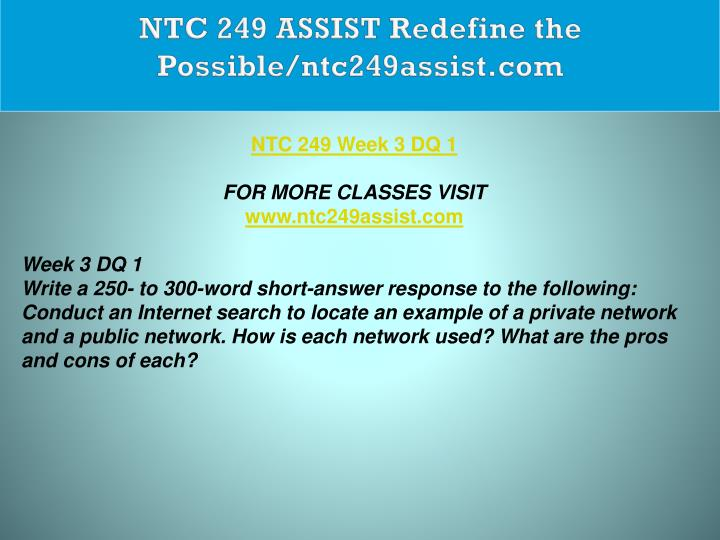 NTC 249 ASSIST Redefine the Possible/ntc249assist.com