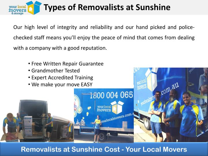 Types of Removalists at Sunshine