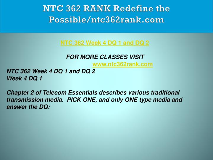 NTC 362 RANK Redefine the Possible/ntc362rank.com