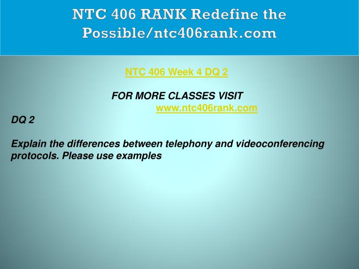 NTC 406 RANK Redefine the Possible/ntc406rank.com