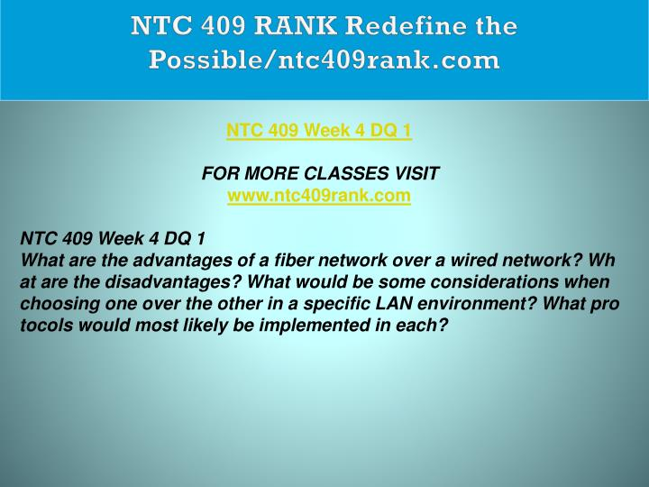 NTC 409 RANK Redefine the Possible/ntc409rank.com