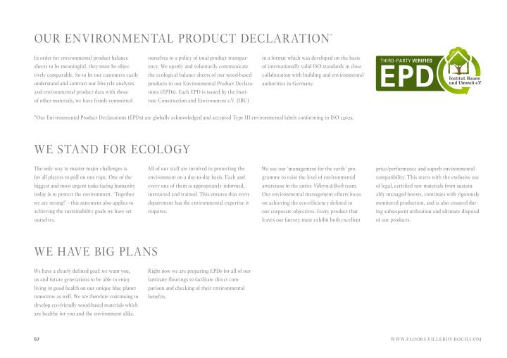 OuR ENVIRONMENtaL pRODuCt DECLaRatION