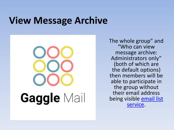 View Message Archive