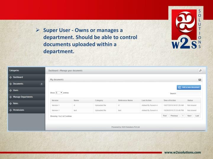 Super User - Owns or manages a department. Should be able to control documents uploaded within a department.