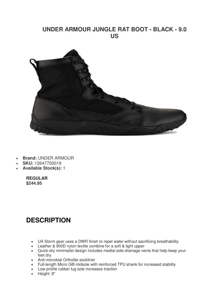 UNDER ARMOUR JUNGLE RAT BOOT - BLACK - 9.0