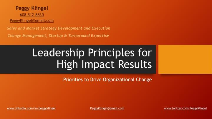 Leadership principles for high i mpact r esults
