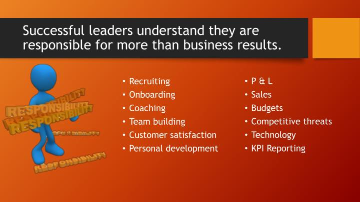 Successful leaders understand they are responsible for more than business results