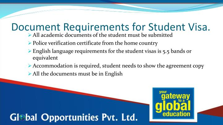 Document Requirements for Student Visa.