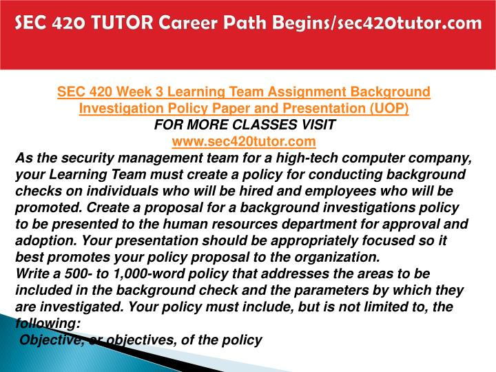 SEC 420 TUTOR Career Path Begins/sec420tutor.com