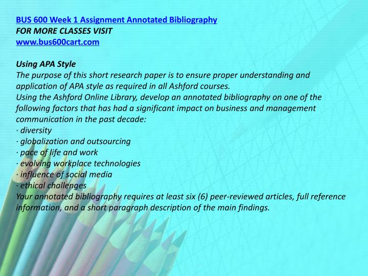 BUS 600 Week 1 Assignment Annotated Bibliography