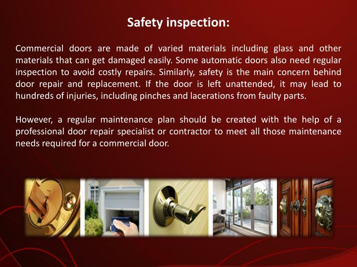 Safety inspection: