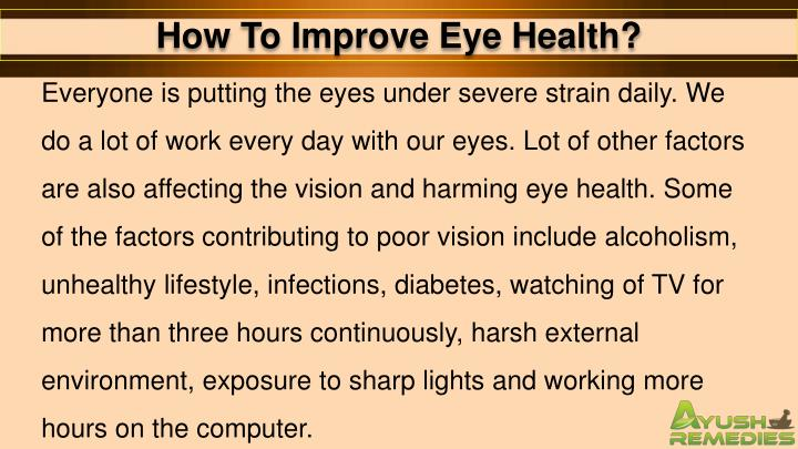 How To Improve Eye