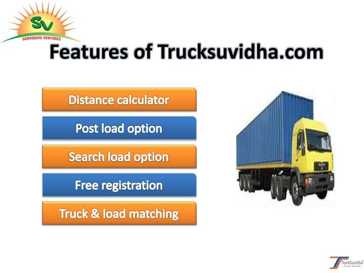 Features of Trucksuvidha.com