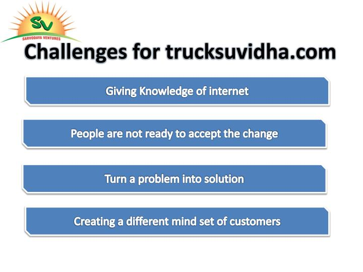 Challenges for trucksuvidha.com