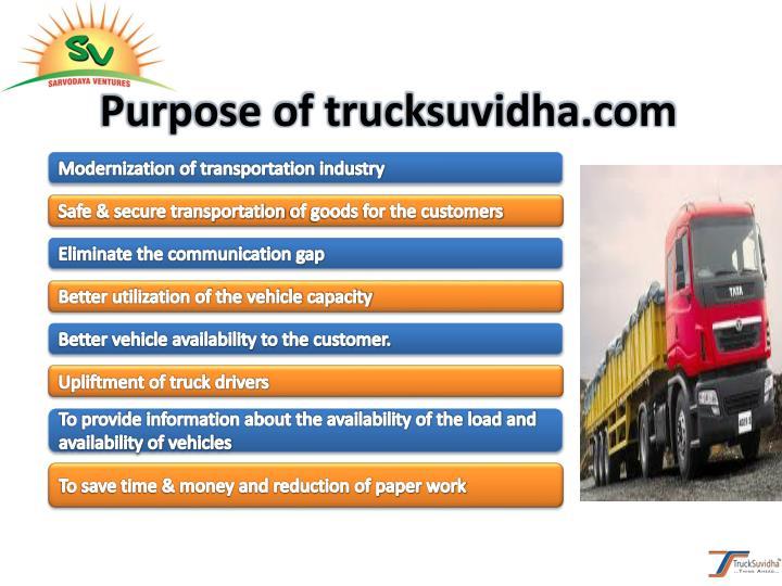Purpose of trucksuvidha.com