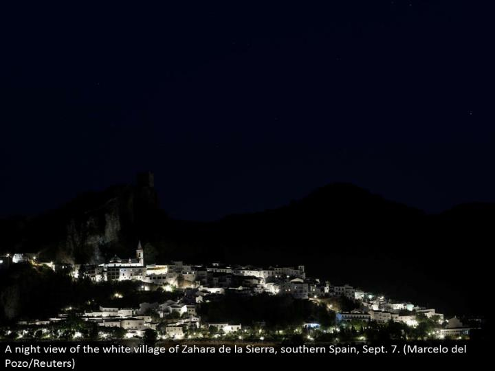 A night perspective of the white town of Zahara de la Sierra, southern Spain, Sept. 7. (Marcelo del Pozo/Reuters)