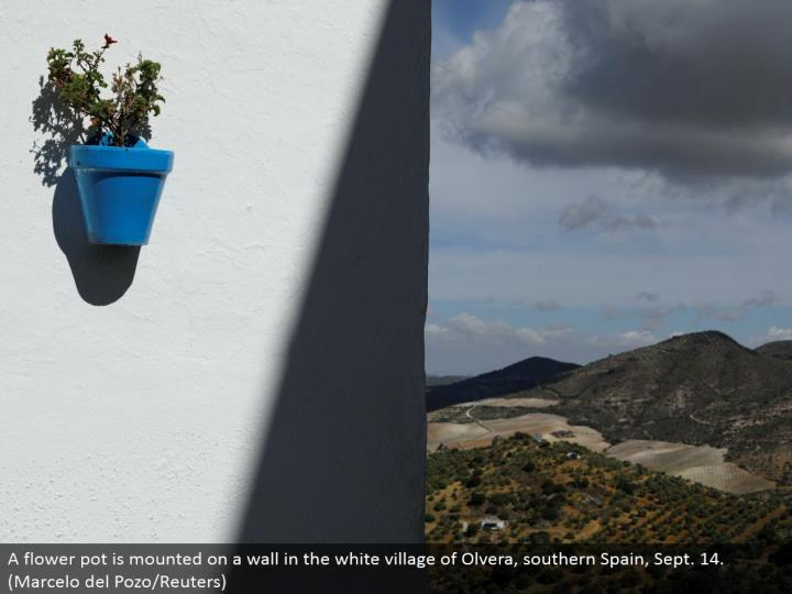 A window box is mounted on a divider in the white town of Olvera, southern Spain, Sept. 14. (Marcelo del Pozo/Reuters)