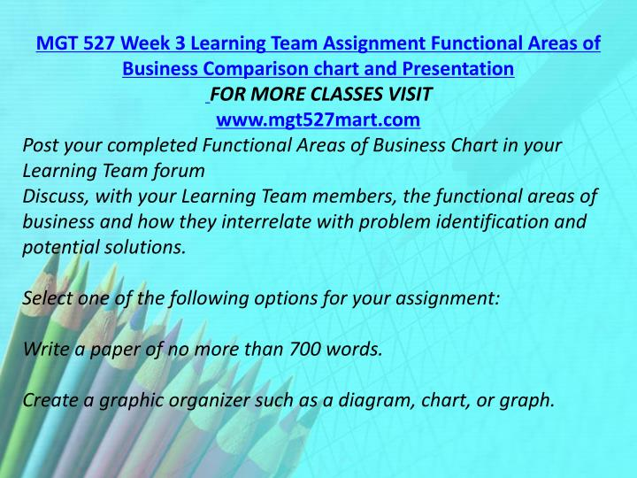 MGT 527 Week 3 Learning Team Assignment Functional Areas of Business Comparison chart and Presentation