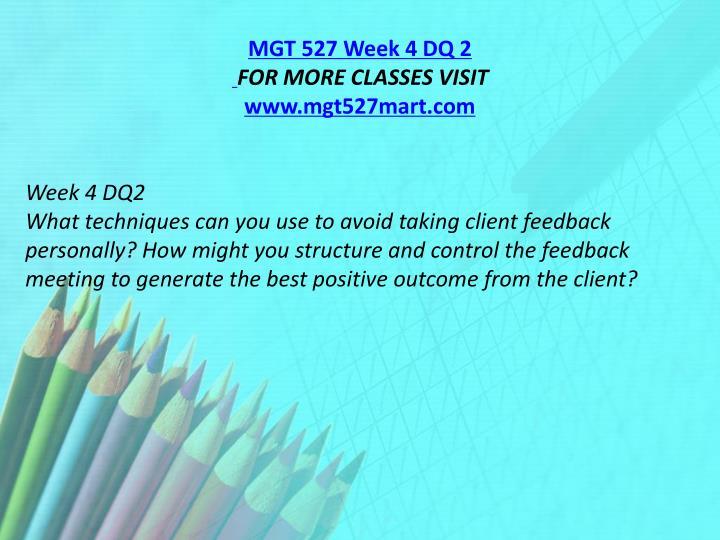 MGT 527 Week 4 DQ 2