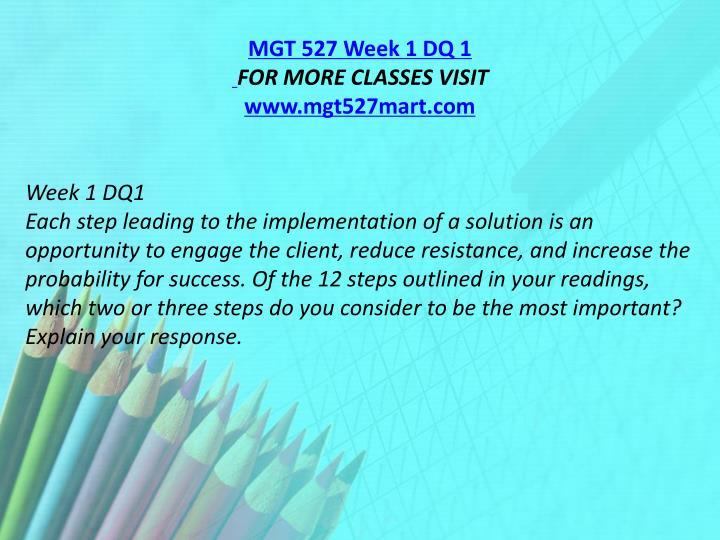 MGT 527 Week 1 DQ 1