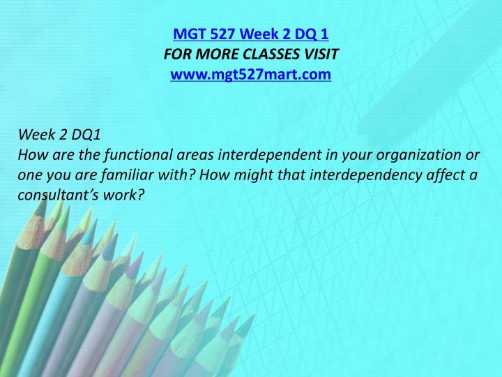 MGT 527 Week 2 DQ 1