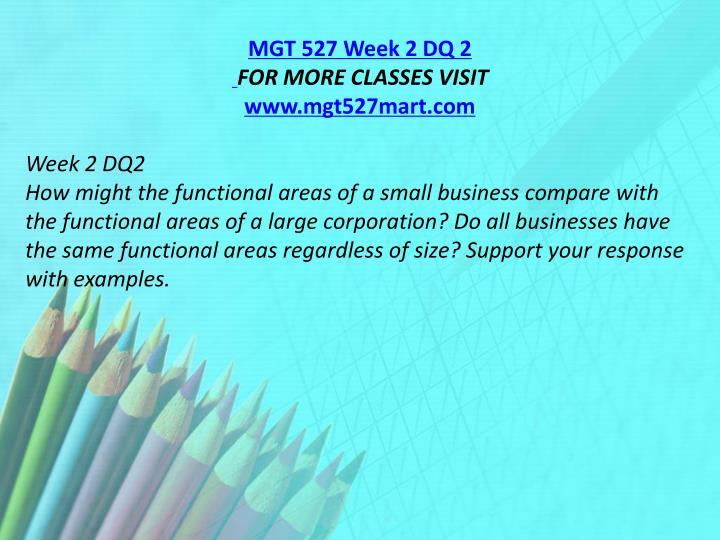MGT 527 Week 2 DQ 2