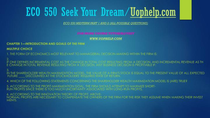Eco 550 seek your dream uophelp com2
