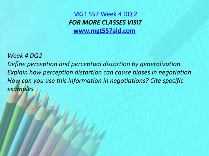MGT 557 Week 4 DQ 2