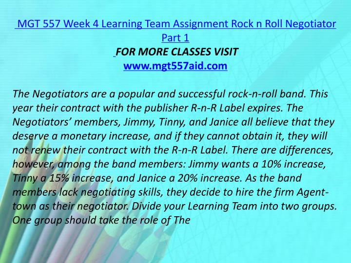 MGT 557 Week 4 Learning Team Assignment Rock n Roll Negotiator Part 1