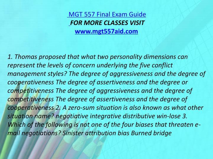 MGT 557 Final Exam Guide