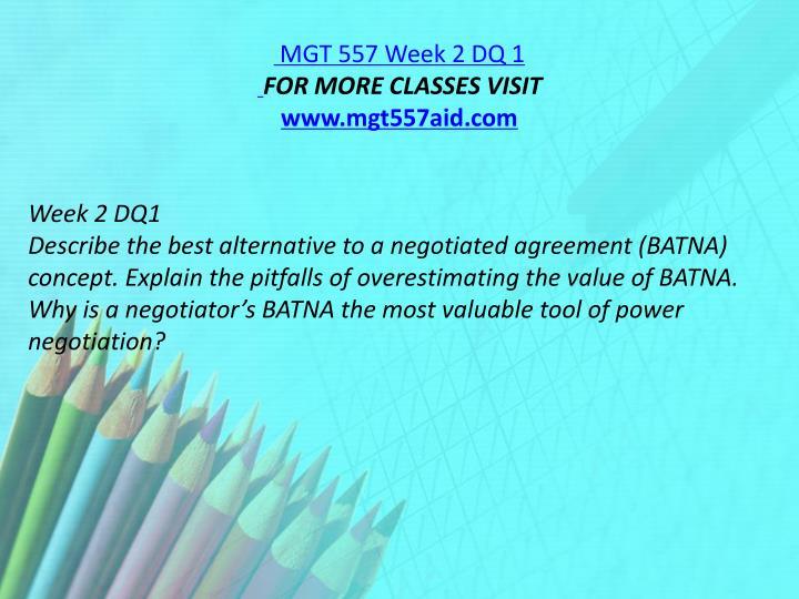 MGT 557 Week 2 DQ 1