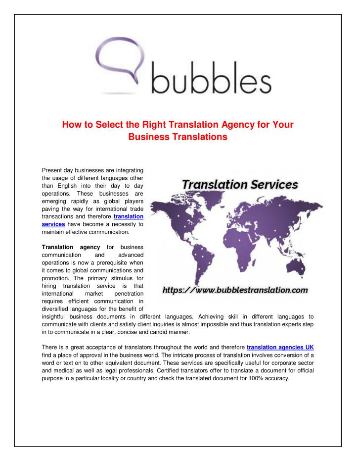 How to Select the Right Translation Agency for Your