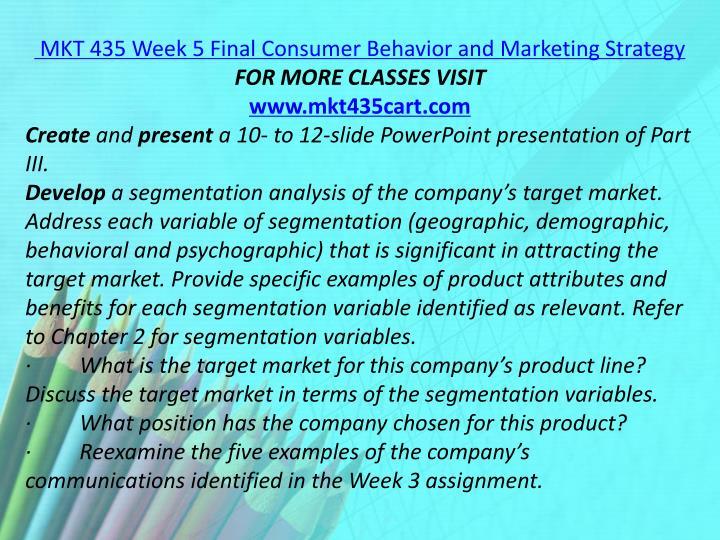 MKT 435 Week 5 Final Consumer