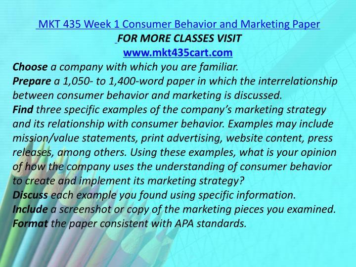 MKT 435 Week 1 Consumer