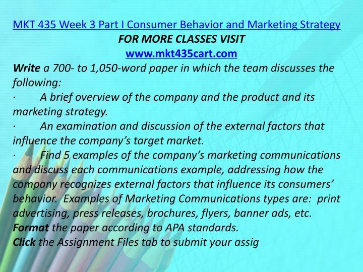 MKT 435 Week 3 Part I Consumer