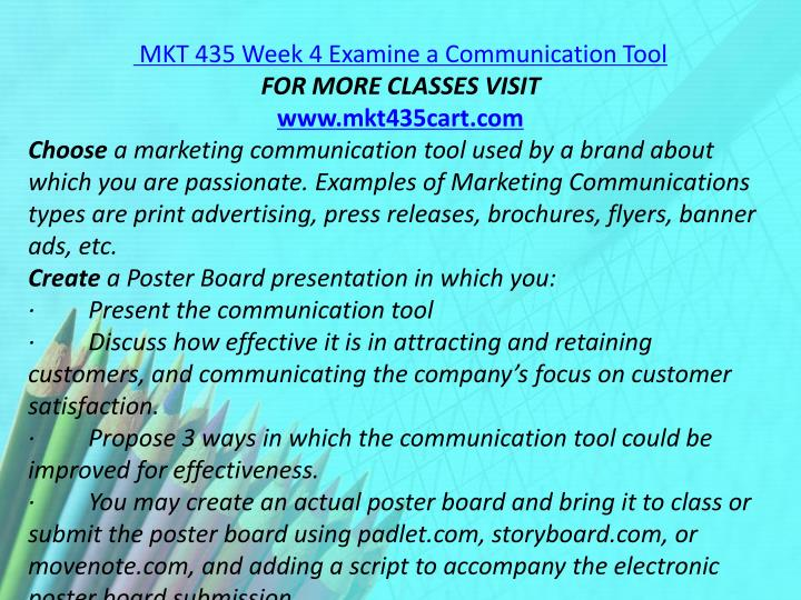 MKT 435 Week 4 Examine a Communication Tool