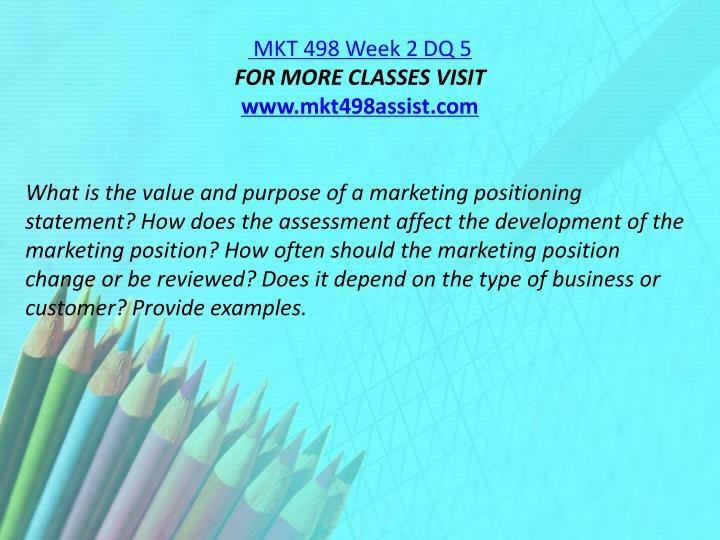 MKT 498 Week 2 DQ 5