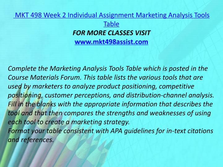 MKT 498 Week 2 Individual Assignment Marketing Analysis Tools Table