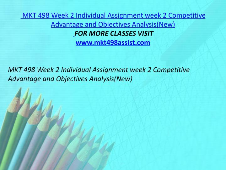 MKT 498 Week 2 Individual Assignment week 2 Competitive Advantage and Objectives Analysis(New)