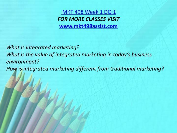 MKT 498 Week 1 DQ 1