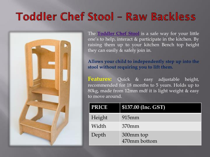 Toddler Chef Stool – Raw Backless