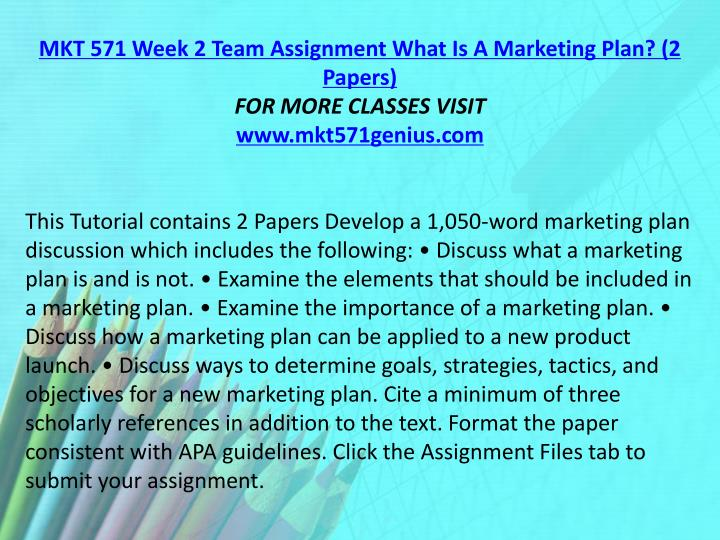 MKT 571 Week 2 Team Assignment What Is A Marketing Plan? (2 Papers)